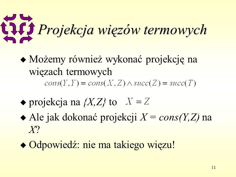 11 Projekcja więzów termowych u Możemy również wykonać projekcję na więzach termowych u projekcja na {X,Z} to u Ale jak dokonać projekcji X = cons(Y,Z