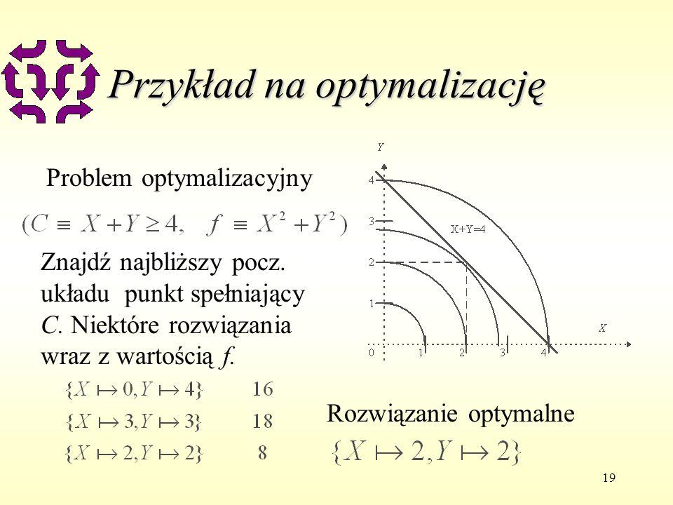 19 Przykład na optymalizację Problem optymalizacyjny Znajdź najbliższy pocz. układu punkt spełniający C. Niektóre rozwiązania wraz z wartością f. Rozw