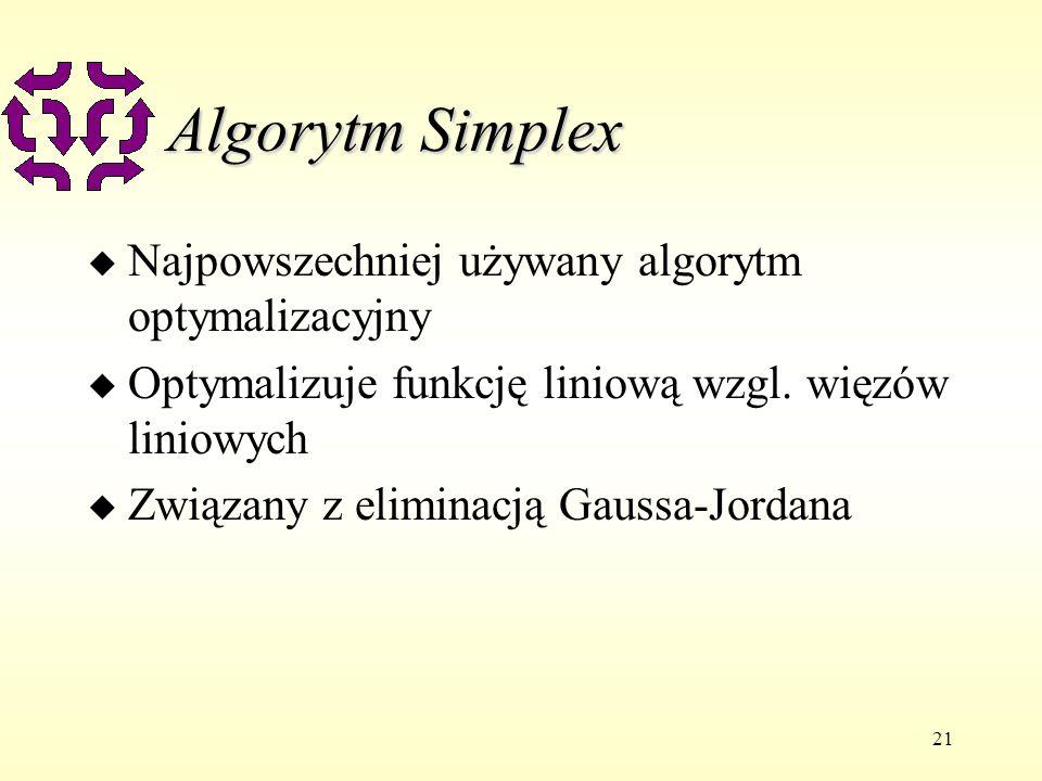 21 Algorytm Simplex u Najpowszechniej używany algorytm optymalizacyjny u Optymalizuje funkcję liniową wzgl. więzów liniowych u Związany z eliminacją G