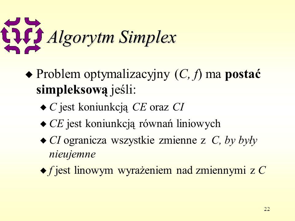 22 Algorytm Simplex u Problem optymalizacyjny (C, f) ma postać simpleksową jeśli: u C jest koniunkcją CE oraz CI u CE jest koniunkcją równań liniowych