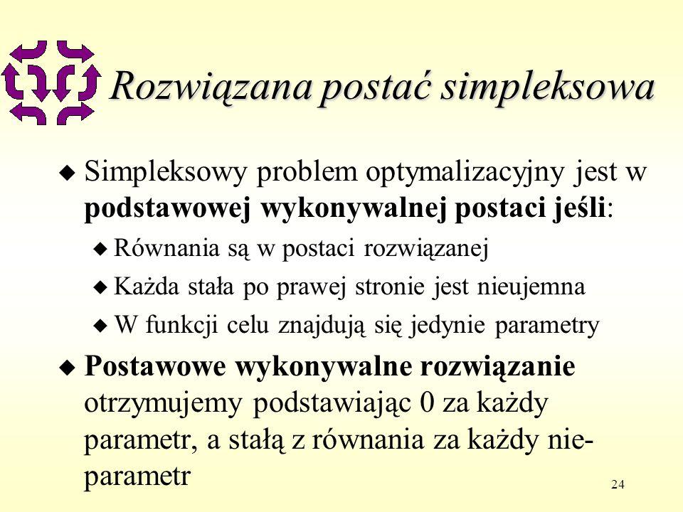 24 Rozwiązana postać simpleksowa u Simpleksowy problem optymalizacyjny jest w podstawowej wykonywalnej postaci jeśli: u Równania są w postaci rozwiąza