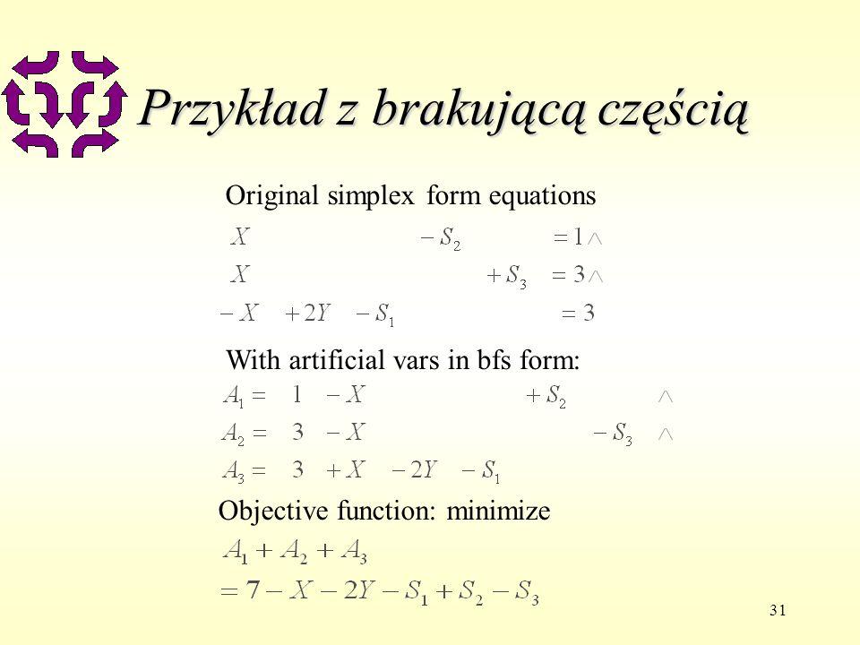31 Przykład z brakującą częścią Original simplex form equations With artificial vars in bfs form: Objective function: minimize