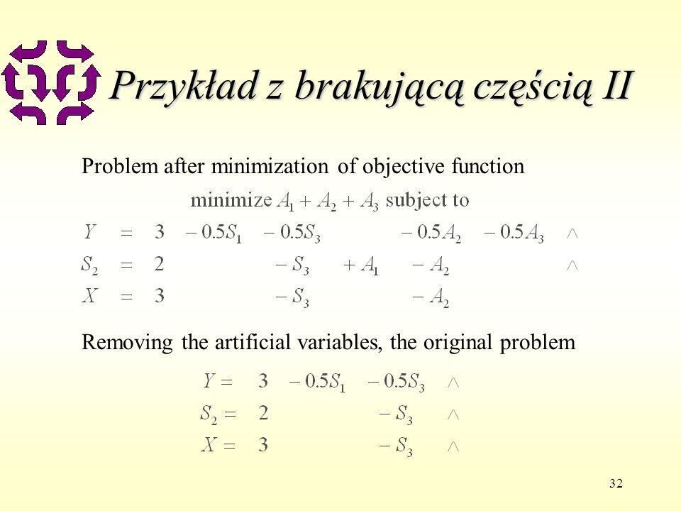 32 Przykład z brakującą częścią II Problem after minimization of objective function Removing the artificial variables, the original problem