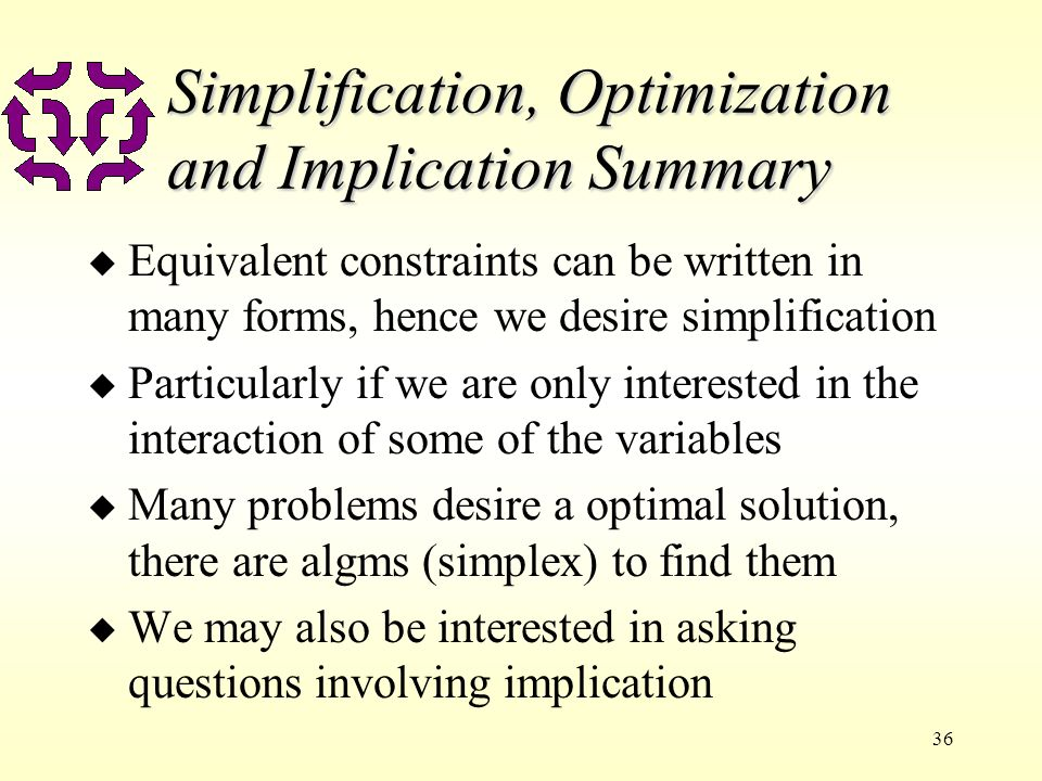 36 Simplification, Optimization and Implication Summary u Equivalent constraints can be written in many forms, hence we desire simplification u Partic