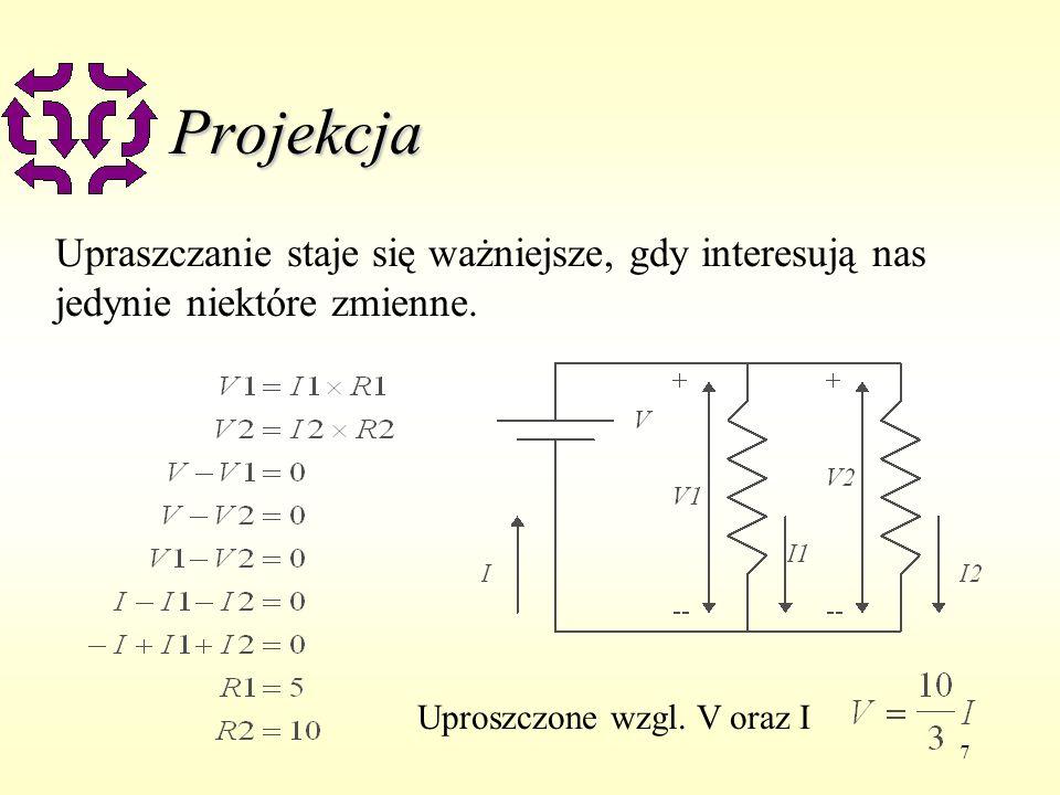 8 Projekcja u Projekcją więzu C na zmienne V jest więz C1 taki, że u C1 zawiera zmienne jedynie z V u Każde rozwiązanie C jest rozwiązaniem C1 u Rozwiązanie C1 może być rozszerzone by dać rozwiązanie C