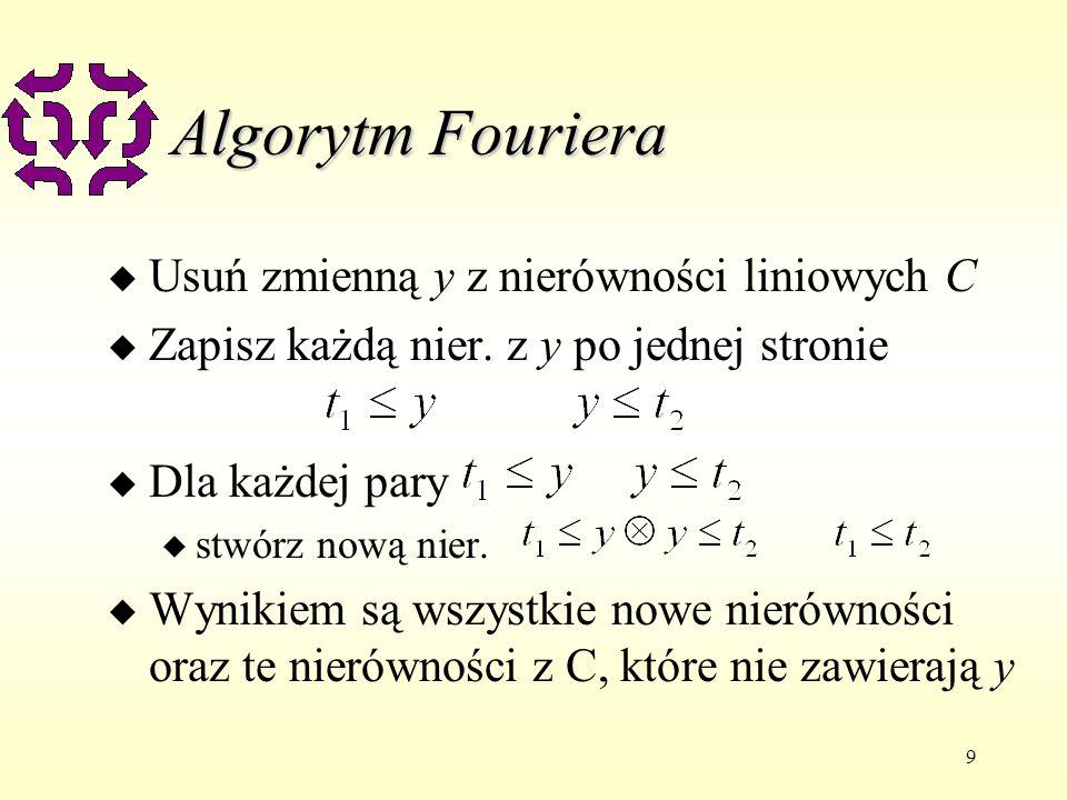 9 Algorytm Fouriera u Usuń zmienną y z nierówności liniowych C u Zapisz każdą nier. z y po jednej stronie u Dla każdej pary u stwórz nową nier. u Wyni