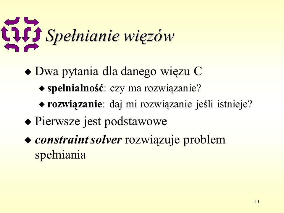 11 Spełnianie więzów u Dwa pytania dla danego więzu C u spełnialność: czy ma rozwiązanie.