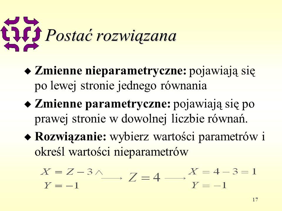 17 Postać rozwiązana u Zmienne nieparametryczne: pojawiają się po lewej stronie jednego równania u Zmienne parametryczne: pojawiają się po prawej stronie w dowolnej liczbie równań.