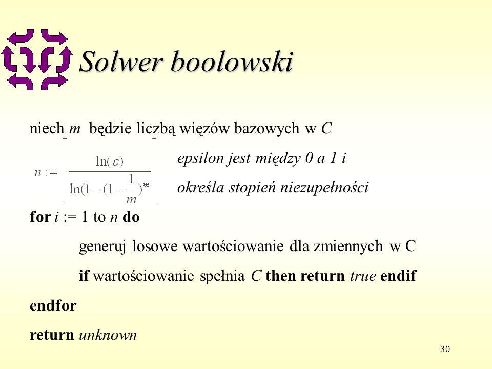 30 Solwer boolowski niech m będzie liczbą więzów bazowych w C epsilon jest między 0 a 1 i określa stopień niezupełności for i := 1 to n do generuj losowe wartościowanie dla zmiennych w C if wartościowanie spełnia C then return true endif endfor return unknown
