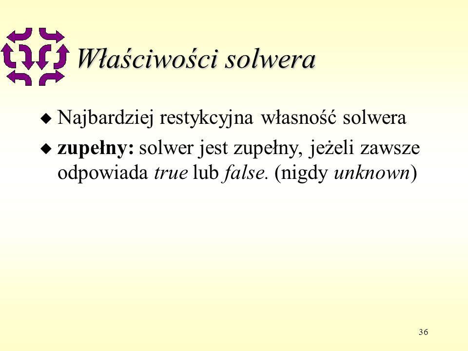 36 Właściwości solwera u Najbardziej restykcyjna własność solwera u zupełny: solwer jest zupełny, jeżeli zawsze odpowiada true lub false.