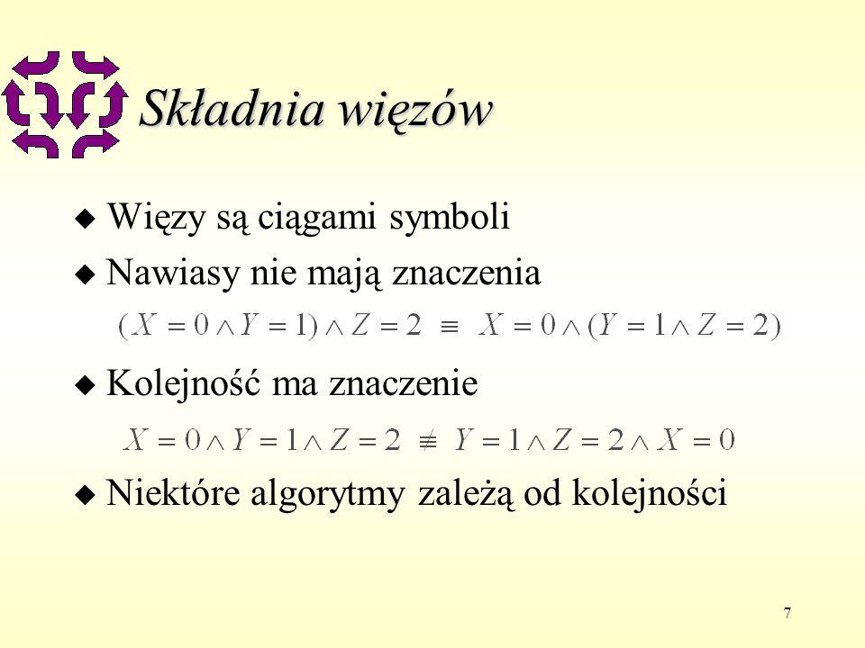 7 Składnia więzów u Więzy są ciągami symboli u Nawiasy nie mają znaczenia u Kolejność ma znaczenie u Niektóre algorytmy zależą od kolejności