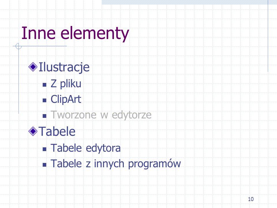10 Inne elementy Ilustracje Z pliku ClipArt Tworzone w edytorze Tabele Tabele edytora Tabele z innych programów