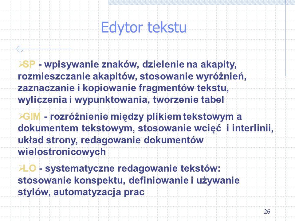 26 Edytor tekstu SP - wpisywanie znaków, dzielenie na akapity, rozmieszczanie akapitów, stosowanie wyróżnień, zaznaczanie i kopiowanie fragmentów teks