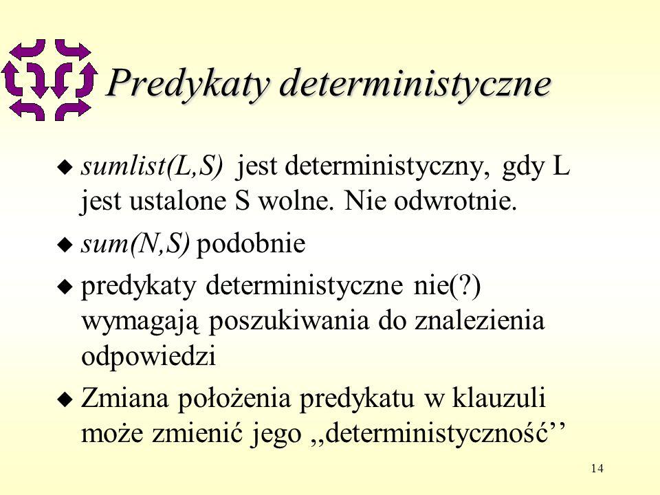 14 Predykaty deterministyczne u sumlist(L,S) jest deterministyczny, gdy L jest ustalone S wolne.