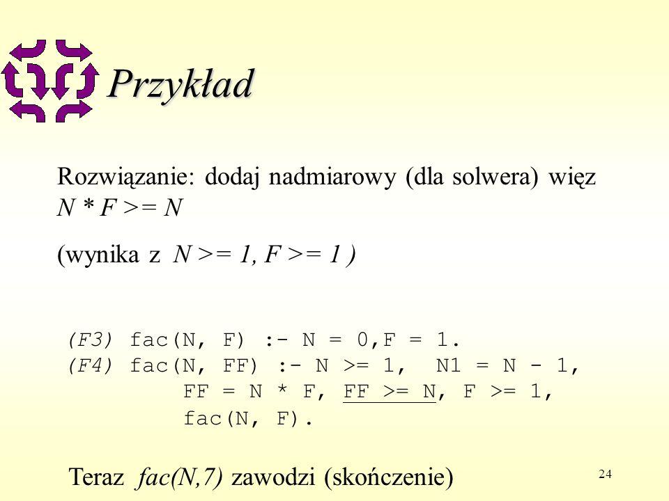24 Przykład (F3) fac(N, F) :- N = 0,F = 1.