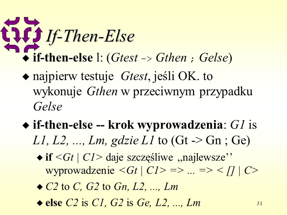 31 If-Then-Else if-then-else l: (Gtest -> Gthen ; Gelse) u najpierw testuje Gtest, jeśli OK.