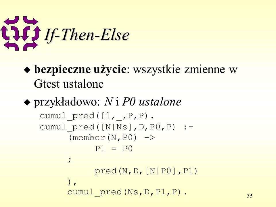 35 If-Then-Else u bezpieczne użycie: wszystkie zmienne w Gtest ustalone u przykładowo: N i P0 ustalone cumul_pred([],_,P,P).