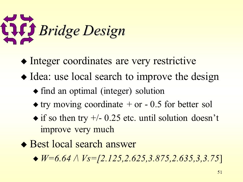 51 Bridge Design u Integer coordinates are very restrictive u Idea: use local search to improve the design u find an optimal (integer) solution u try moving coordinate + or - 0.5 for better sol u if so then try +/- 0.25 etc.