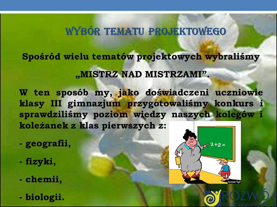 KONKURS MISTRZ NAD MISTRZAMI 21.03.2012r.przeprowadziliśmy konkurs.