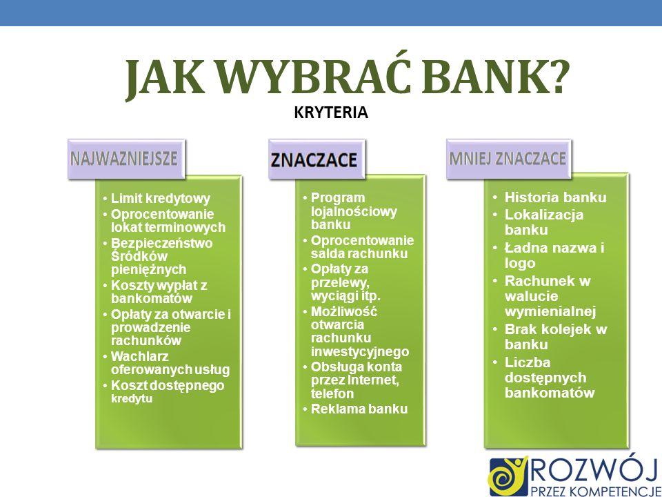 JAK WYBRAĆ BANK.