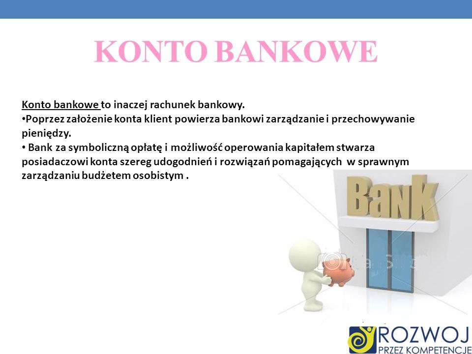 KONTO BANKOWE Konto bankowe to inaczej rachunek bankowy.