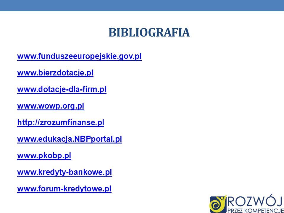 BIBLIOGRAFIA www.funduszeeuropejskie.gov.pl www.bierzdotacje.pl www.dotacje-dla-firm.pl www.wowp.org.pl http://zrozumfinanse.pl www.edukacja.NBPportal.pl www.pkobp.pl www.kredyty-bankowe.pl www.forum-kredytowe.pl