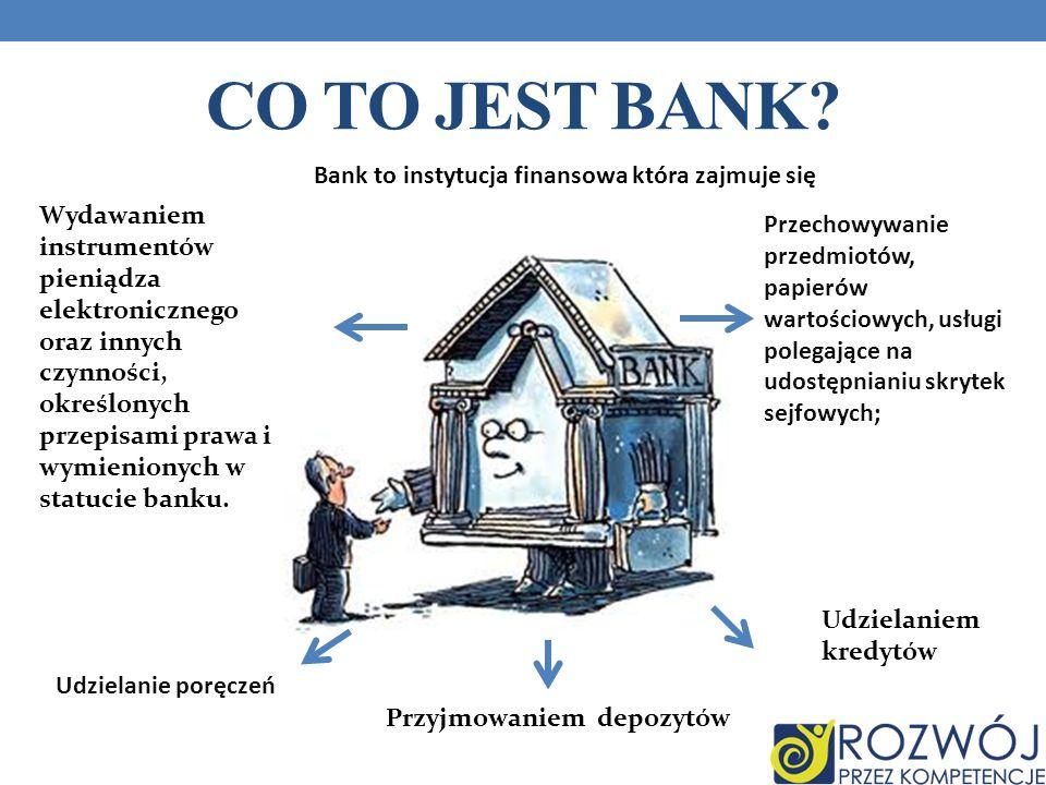 CO TO JEST BANK? Bank to instytucja finansowa która zajmuje się :Bank to instytucja finansowa która zajmuje się Wydawaniem instrumentów pieniądza elek