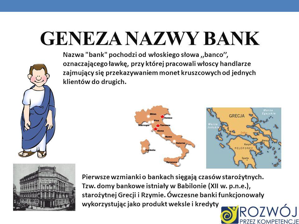 GENEZA NAZWY BANK Nazwa bank pochodzi od włoskiego słowa,,banco, oznaczającego ławkę, przy której pracowali włoscy handlarze zajmujący się przekazywaniem monet kruszcowych od jednych klientów do drugich.