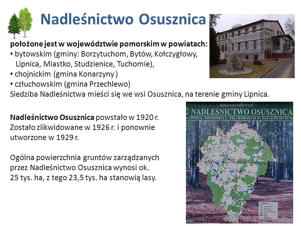 Nadleśnictwo Osusznica położone jest w województwie pomorskim w powiatach: bytowskim (gminy: Borzytuchom, Bytów, Kołczygłowy, Lipnica, Miastko, Studzi