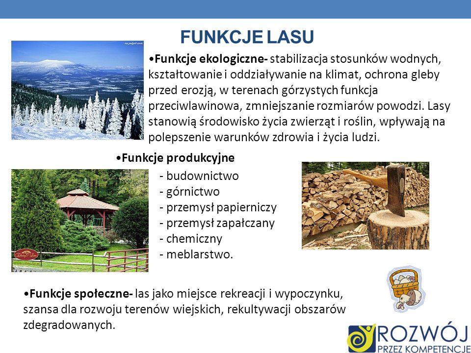 FUNKCJE LASU Funkcje ekologiczne- stabilizacja stosunków wodnych, kształtowanie i oddziaływanie na klimat, ochrona gleby przed erozją, w terenach górz