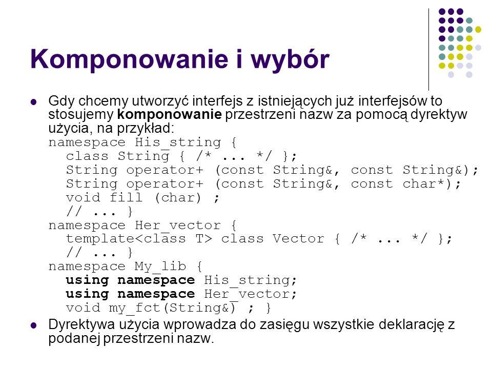 Komponowanie i wybór Gdy chcemy utworzyć interfejs z istniejących już interfejsów to stosujemy komponowanie przestrzeni nazw za pomocą dyrektyw użycia