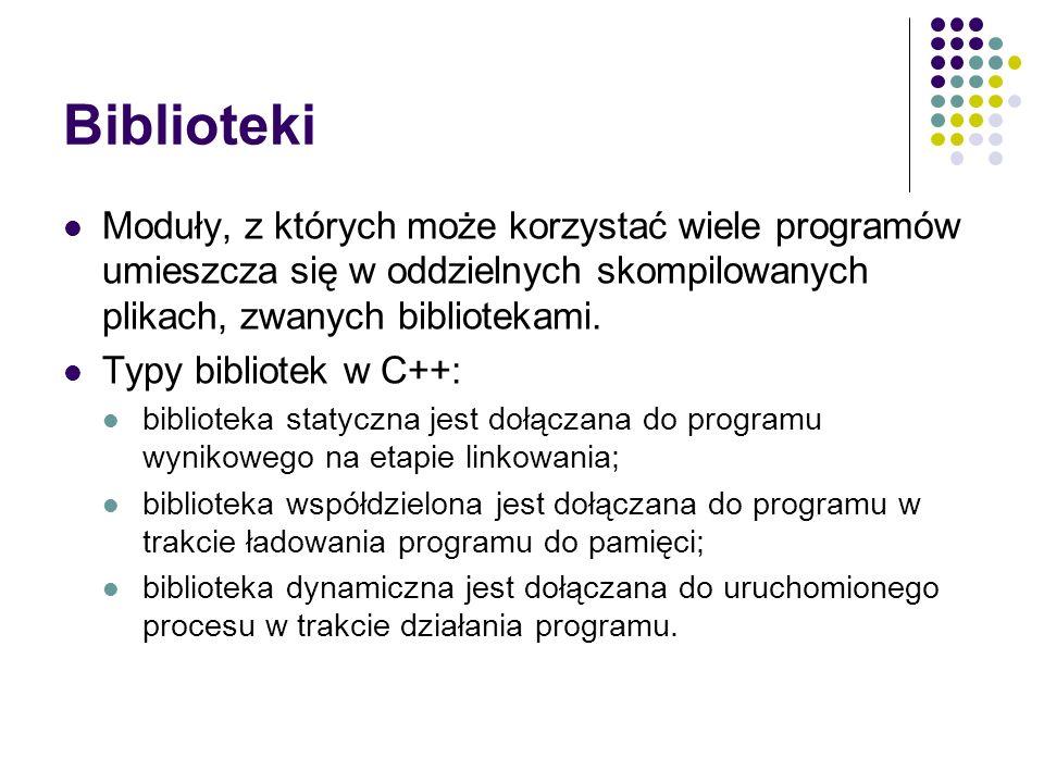 Biblioteki Moduły, z których może korzystać wiele programów umieszcza się w oddzielnych skompilowanych plikach, zwanych bibliotekami. Typy bibliotek w