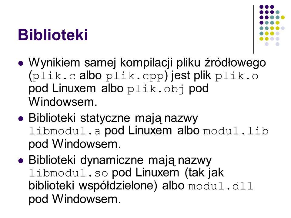 Biblioteki Wynikiem samej kompilacji pliku źródłowego ( plik.c albo plik.cpp ) jest plik plik.o pod Linuxem albo plik.obj pod Windowsem. Biblioteki st