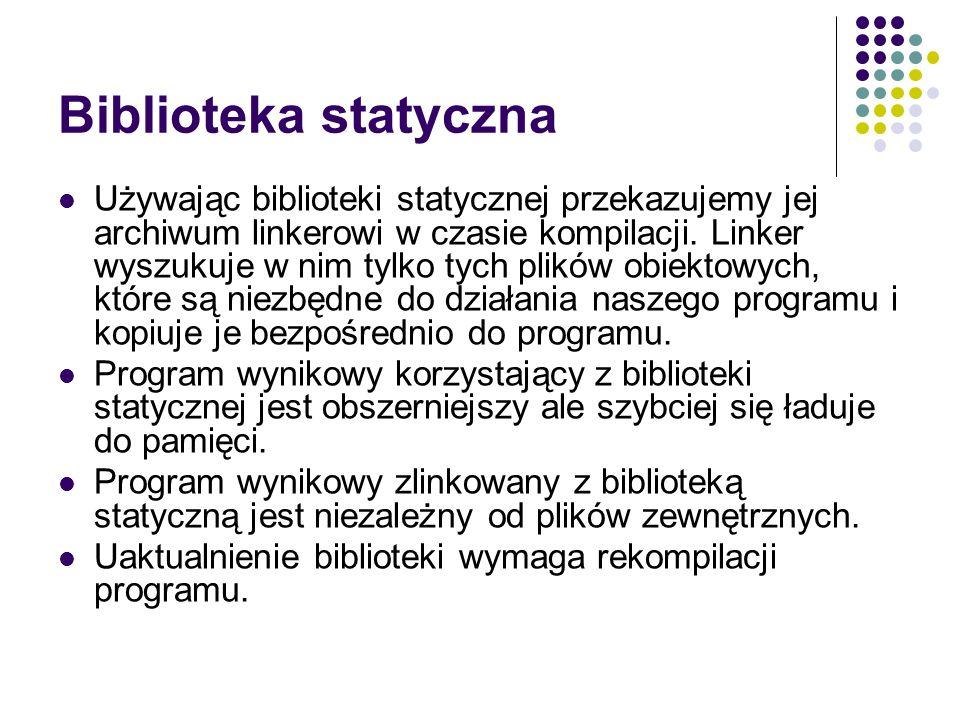 Biblioteka statyczna lib.cpp lib.o static library prog.cpp prog.o a.out memory linker loader g++ar g++ ssh