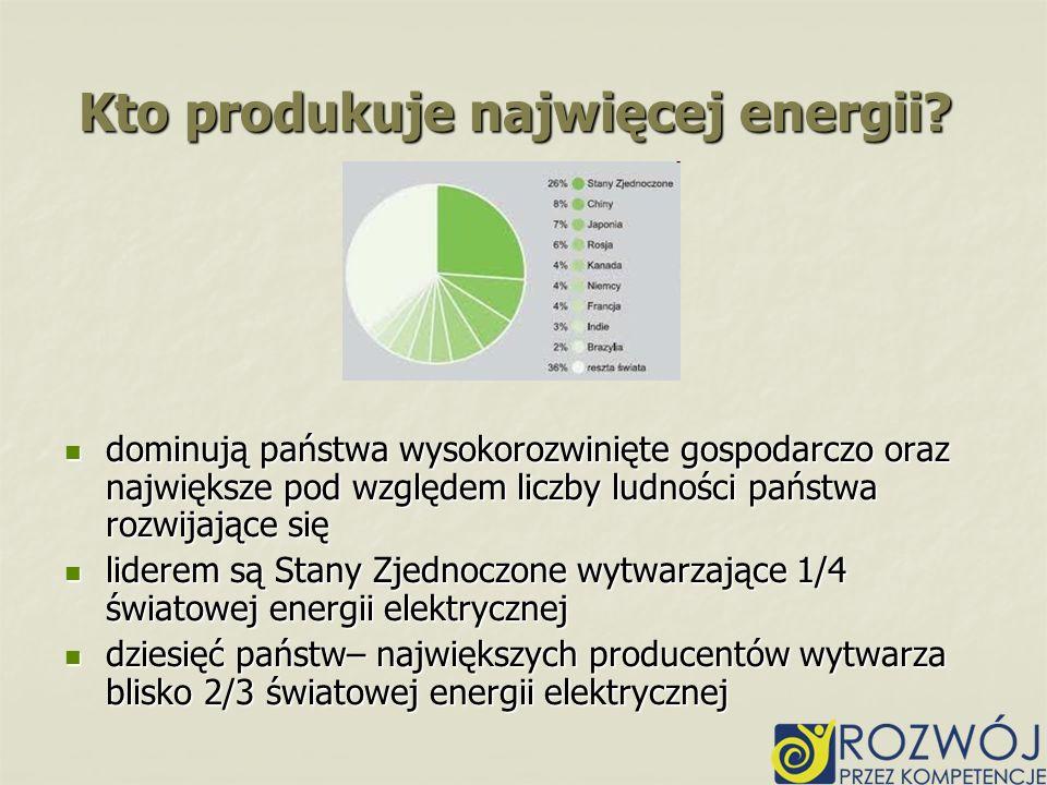 Kto produkuje najwięcej energii? dominują państwa wysokorozwinięte gospodarczo oraz największe pod względem liczby ludności państwa rozwijające się do
