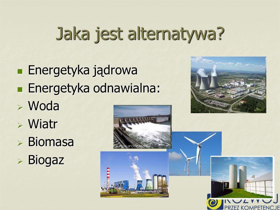 Energetyka jądrowa Energetyka jądrowa Energetyka odnawialna: Energetyka odnawialna: Woda Woda Wiatr Wiatr Biomasa Biomasa Biogaz Biogaz Jaka jest alte
