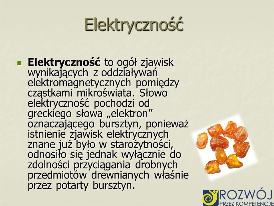 Elektryczność to ogół zjawisk wynikających z oddziaływań elektromagnetycznych pomiędzy cząstkami mikroświata. Słowo elektryczność pochodzi od greckieg