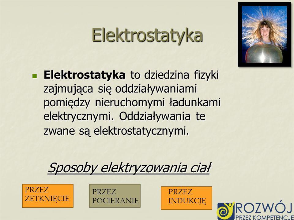 Elektrostatyka to dziedzina fizyki zajmująca się oddziaływaniami pomiędzy nieruchomymi ładunkami elektrycznymi. Oddziaływania te zwane są elektrostaty