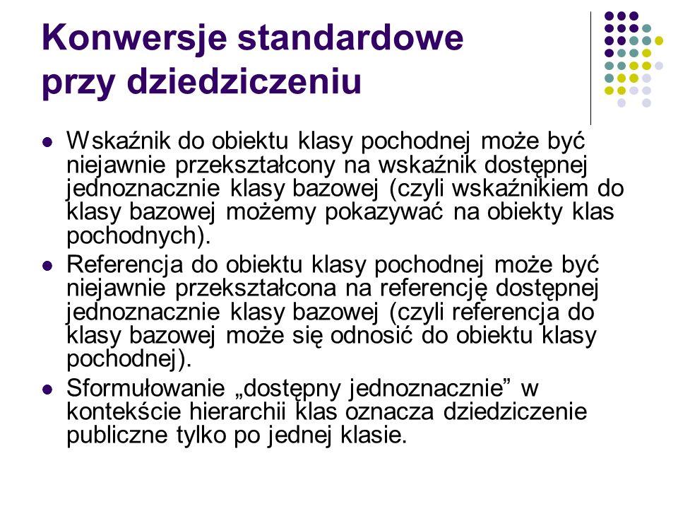 Konwersje standardowe przy dziedziczeniu Wskaźnik do obiektu klasy pochodnej może być niejawnie przekształcony na wskaźnik dostępnej jednoznacznie kla