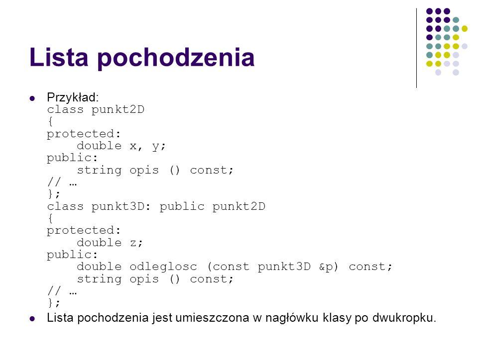 Lista pochodzenia Przykład: class punkt2D { protected: double x, y; public: string opis () const; // … }; class punkt3D: public punkt2D { protected: d