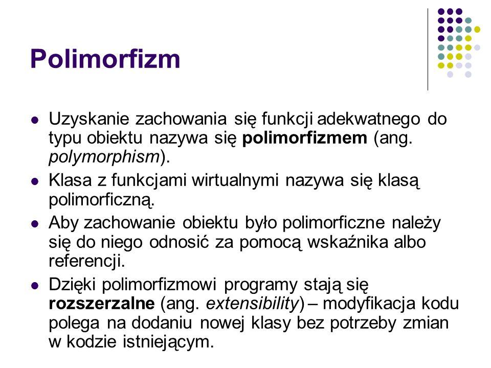 Polimorfizm Uzyskanie zachowania się funkcji adekwatnego do typu obiektu nazywa się polimorfizmem (ang. polymorphism). Klasa z funkcjami wirtualnymi n