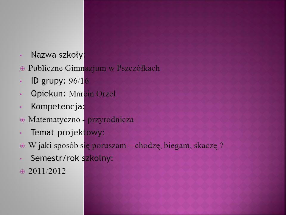 Nazwa szkoły: Publiczne Gimnazjum w Pszczółkach ID grupy: 96/16 Opiekun: Marcin Orzeł Kompetencja: Matematyczno - przyrodnicza Temat projektowy: W jak