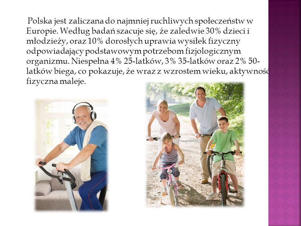 Polska jest zaliczana do najmniej ruchliwych społeczeństw w Europie. Według badań szacuje się, że zaledwie 30% dzieci i młodzieży, oraz 10% dorosłych