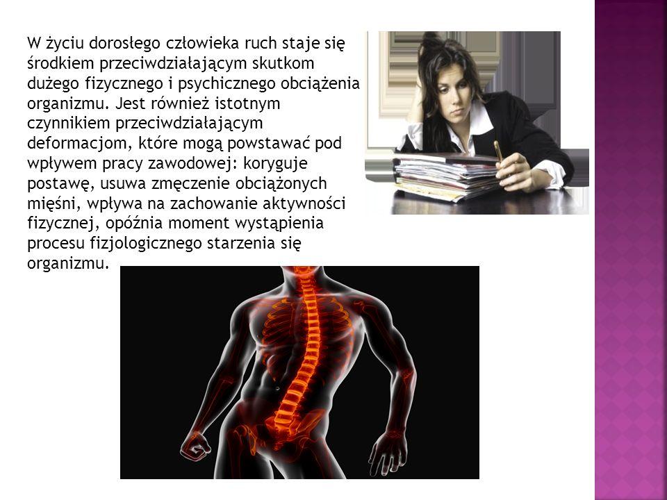 W życiu dorosłego człowieka ruch staje się środkiem przeciwdziałającym skutkom dużego fizycznego i psychicznego obciążenia organizmu. Jest również ist