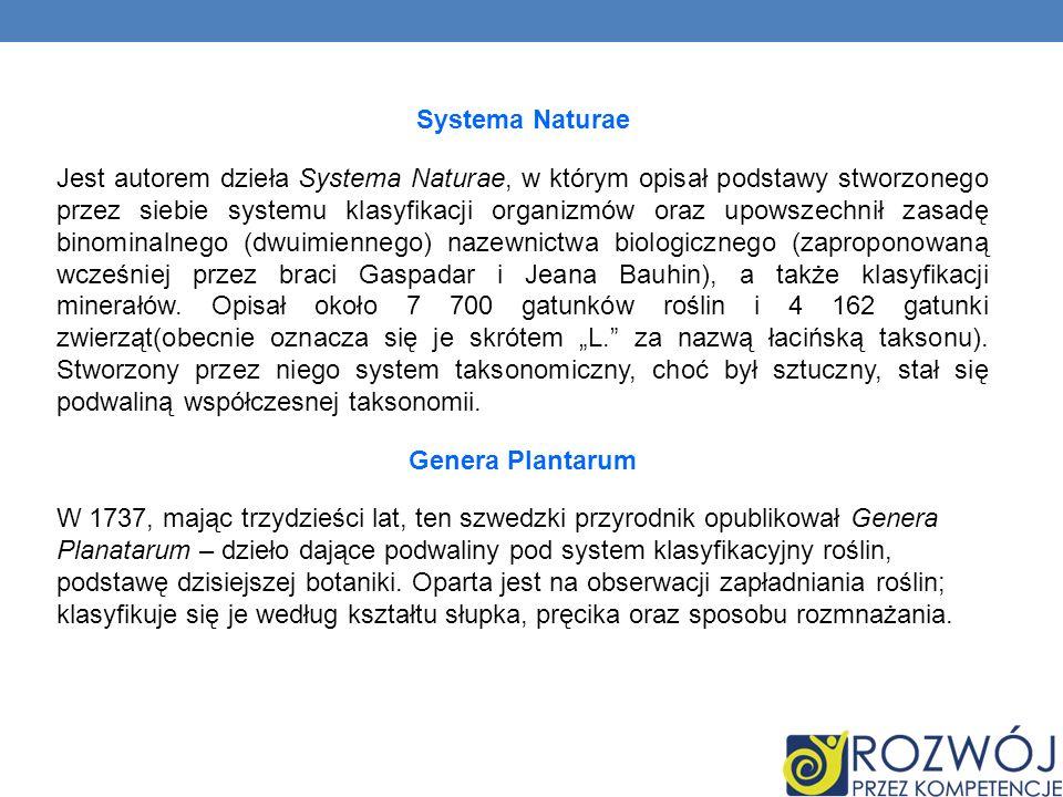 Systema Naturae Jest autorem dzieła Systema Naturae, w którym opisał podstawy stworzonego przez siebie systemu klasyfikacji organizmów oraz upowszechn