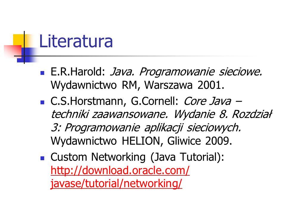 Literatura E.R.Harold: Java. Programowanie sieciowe.