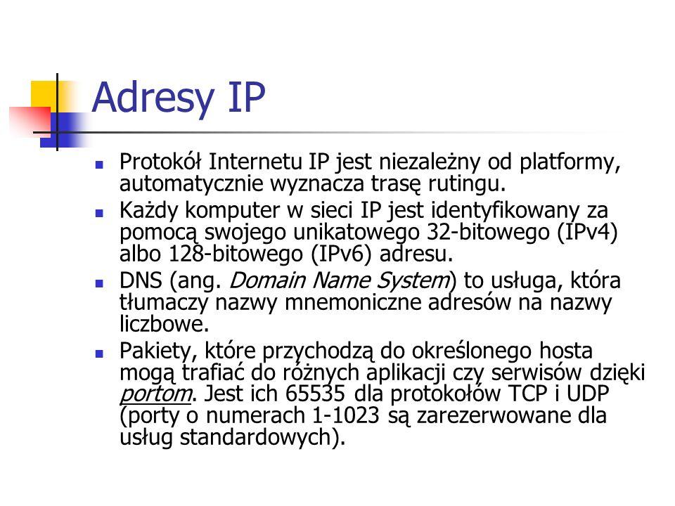 Adresy IP Protokół Internetu IP jest niezależny od platformy, automatycznie wyznacza trasę rutingu.