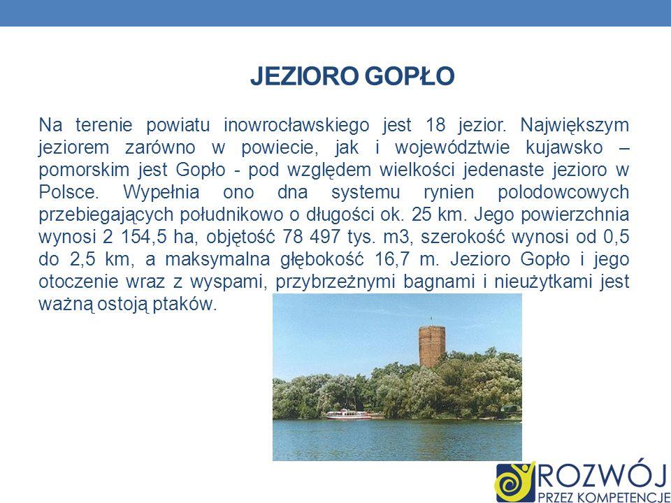 JEZIORO GOPŁO Na terenie powiatu inowrocławskiego jest 18 jezior. Największym jeziorem zarówno w powiecie, jak i województwie kujawsko – pomorskim jes