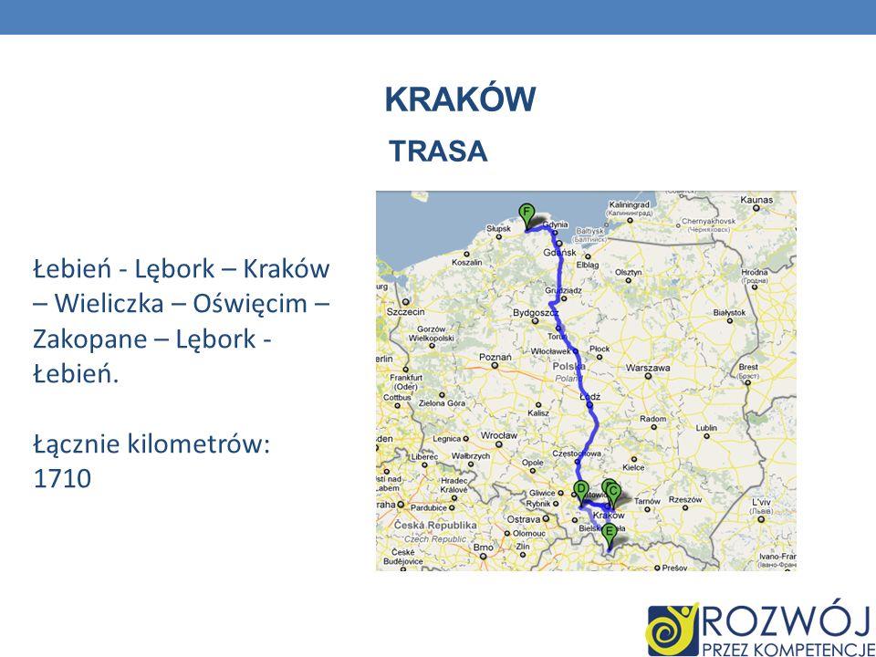 KRAKÓW TRASA Łebień - Lębork – Kraków – Wieliczka – Oświęcim – Zakopane – Lębork - Łebień. Łącznie kilometrów: 1710