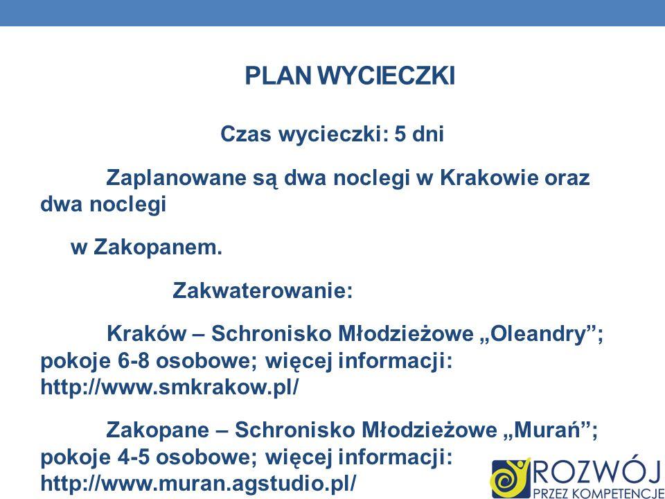 PLAN WYCIECZKI Czas wycieczki: 5 dni Zaplanowane są dwa noclegi w Krakowie oraz dwa noclegi w Zakopanem. Zakwaterowanie: Kraków – Schronisko Młodzieżo